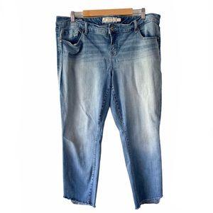 Torrid faded stripe ankle skinny step in jeans